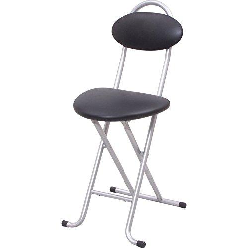 [山善] 折りたたみ パイプ 椅子 幅33×奥行43×高さ75cm スリム 使う場所を選ばない 完成品 シルバー・ブラック YZX-35(SB) 在宅勤務
