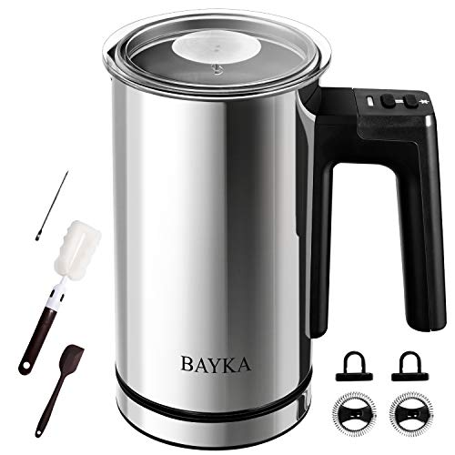 BAYKA Milk Frother, Electric Milk Frother with Hot & Cold Automatic Function, Milk Steamer, Foamer, Heater, Frother & Warmer For Coffee Espresso, Cappuccinos, Lattes, Hot Chocolate Maker