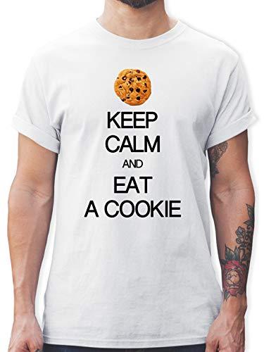 Keep Calm - Keep Calm and eat a Cookie - M - Weiß - Keks Monster - L190 - Tshirt Herren und Männer T-Shirts