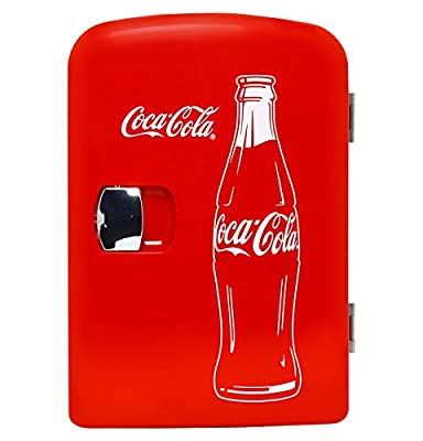 Coca-Cola KWC-4C Classic 4 Liter/4.2 Quarts 6 Can Portable Cooler/Mini Fridge, Beverages, Baby Food, Skincare and Medications-Use at Home, Office, Dorm & Car, with AC & DC Plugs, Red/White
