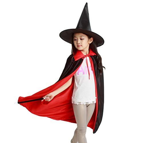 NUOBESTY Disfraz de Mago para Halloween, para niños y niñas (1 Abrigo de 80 – 90 cm + 1 Gorra + 1 Varita mágica)