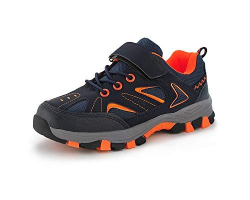 JABASIC Kinder Outdoor Wanderschue Trekking Schuhe Jungen Mädchen Stiefel Turnschuhe (38 EU,Marine/Orange)