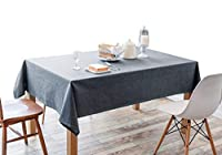 IYHUO 綿麻製 テーブルクロス ティーテーブ クロス 食卓カバー 長方形 簡約 田園風 ブラック