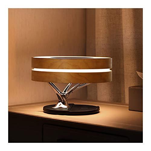LILIS Lampara de Noche Lámparas de Mesa Multifuncional lámpara de Mesa lámpara inalámbrica de Madera Regulable Decorativo lámpara de cabecera Bluetooth Inteligente cabecera de Audio de Carga rápida
