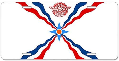 Fhdang Decor Assyrische Flagge, Aluminium, Nummernschild, Schminkschild mit 4 Löchern, Autozubehör, 15,2 x 30,5 cm