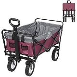 Bollerwagen faltbar klappbar Transportkarre Handwagen mit 4 Rollen für Camping Einkaufen belastbar bis 80kg, Lila