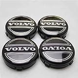 Coche 4 Piezas 60mm,Tapas centrales Aleación Tapacubos con Emblema De Insignia Embellecedor Central De Llanta De Rueda Cubre Accesorios, para Volvo S40 S60L S80L XC60 XC90
