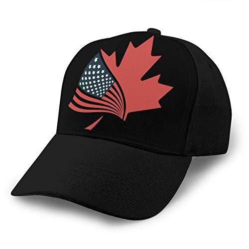 Bandera Americana y Canadá Meaple Leaf Gorra de béisbol Ajustable Unisex Gorras Divertidas de Hip Hop Sombrero de papá Negro