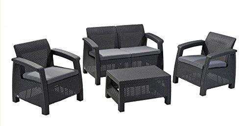Conjunto Terrace and Garden Corfu Lounge–luxomobel Anthracite Rattan Set: 2 Chairs + Sofa + Table, 77 x 57 x 42 cm, 75 x 70 x 79 cm, 128 x 70 x 79 cm