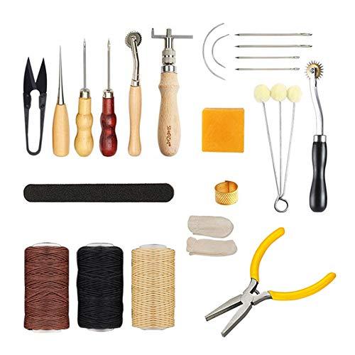 32 Pieces Leather Gereedschap Kit, Lederen hulpmiddelen en benodigdheden, leerbewerking Kits Supplies voor Stikkende Ponsen Cutting Naaien