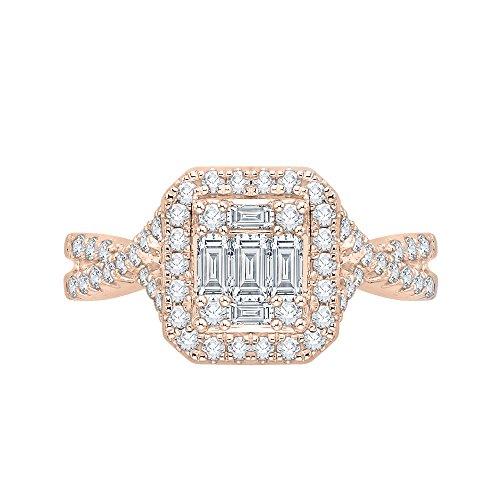 Redondo y Baguette corte diamante anillo de compromiso en oro rosa de 14K (1/2quilates)