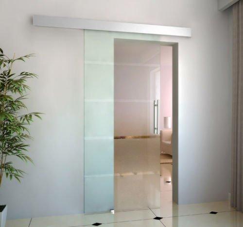 Kit completo de puerta corredera de cristal templado con rail, aleación de aluminio (900 x 2050 x 8 mm): Amazon.es: Hogar