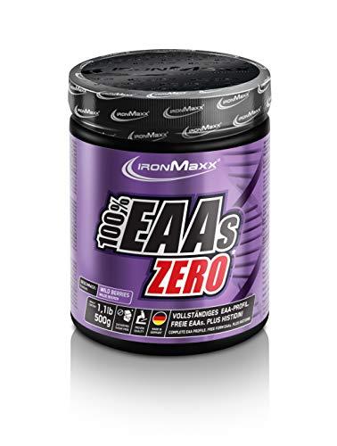 IronMaxx 100% EAAs Zero, Wildberry – Reines Aminosäuren-Pulver – Zuckerfreies Supplement für den Muskelaufbau – 1 x 500 g Pulver