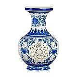 HongLianRiven Muebles Jarrón de cerámica Decoración Salón Arreglo Floral Hueco Porcelana Moderno Decoración del hogar Chino (Base comprada por Separado) 10-21