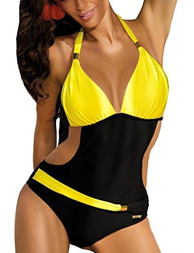 Costumi da Bagno Interi Donna Trikini Costume da Mare Spiaggia Piscina Sexy Bohemian in Pizzo Bikini Swimsuit One Piece Coordinati Beachwear