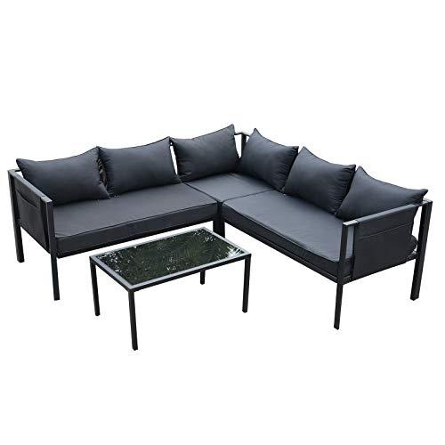 Outsunny 4-TLG. Gartengarnitur Gartenset Gartensofaset Sitzgruppe Gartenmöbel Stahl + Textilene + Hartglas Schwarz 2 x Doppelsofa 1 x Ecksofa 1 x Beistelltisch Kissen für 5 Personen