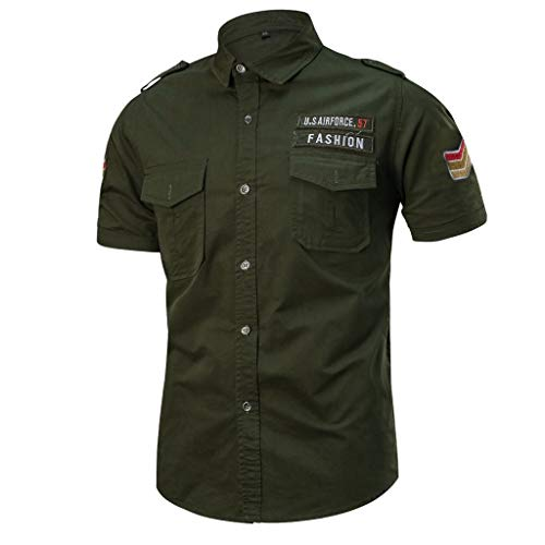 Proumy 2019 Neu Sommer Hemd Herren Lose Militär Hemden Atmungsaktiver Komfort Solide Color Tasche Sport Tops (XXXXXL, Army Green)