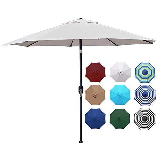 Blissun 9' Outdoor Aluminum Patio Umbrella, Striped Patio Umbrella,...