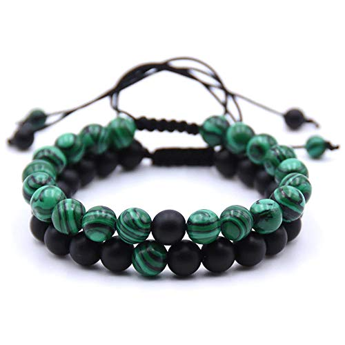 EXINOX Tibet armband kralen heren dames 2 stuks groen zwart