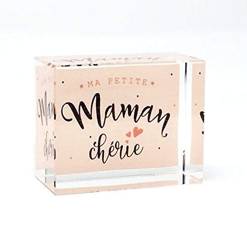 Mon cadeau en verre 'Briefbeschwerer aus Glas 5x 4x 2,5cm mit Botschaft in Farbe kleine Maman Chérie