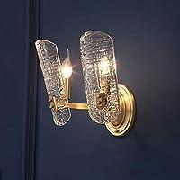 アメリカの銅の壁のランプ、モダンなシンプルなガラスの壁ライトの燭台の創造的な壁のランタンベッドルームベッドサイド照明レストランホテル通路の装飾的な照明、ダブルヘッド
