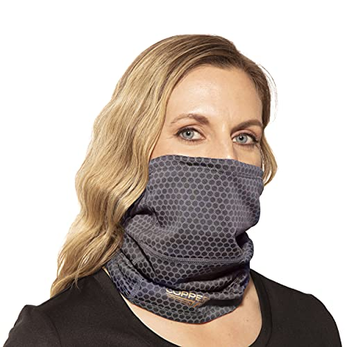 Copper Fit unisex adult Guardwell Face Cover and Neck Gaiter, Charcoal, US