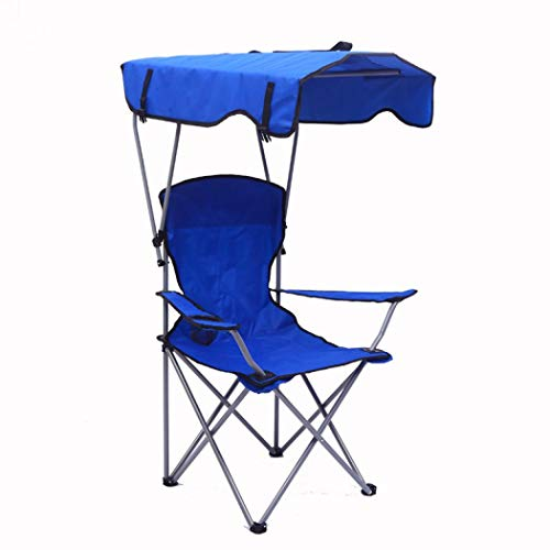 XUDREZ Camp Chairs with Shade Canopy Chair Folding Fishing Chiar for Outdoor Beach Camp Park Patio Support 380 LBS (Royal blue)