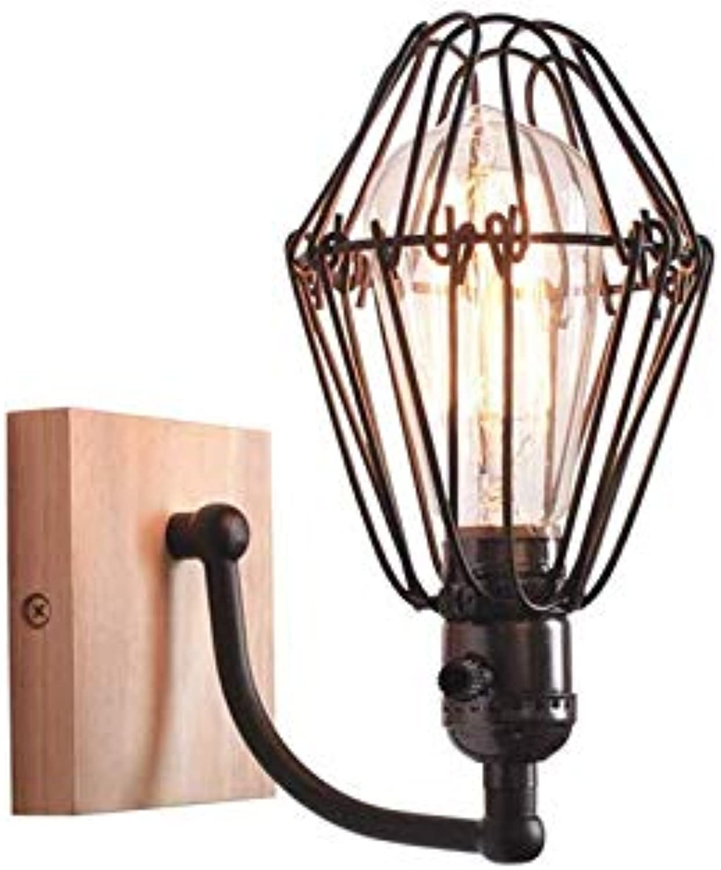 Chandelierindustrial Wandlampe, E27 Iron Loft Rustikale Wandleuchte Vintage Wall Porch Light Holz Base Wandleuchte Für Bar Cafe Gang-24.8X18.3Cm