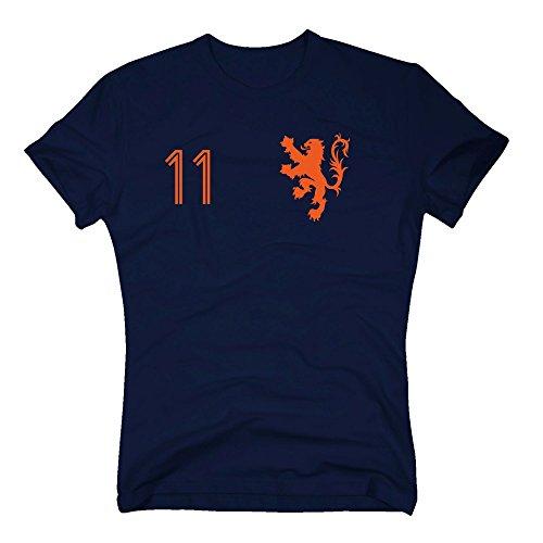Shirt Department - Holland Trikot - Herren T-Shirt - mit Wunschnummer - Nederland Niederlande, XXXL, dunkelblau