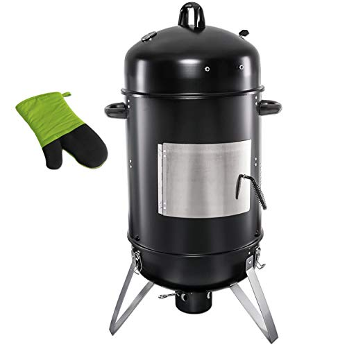 WUMDOO Style'n Cook Holzkohlegrill Smoker Schwarz hitzebeständig bis 500 °C | Stabiler Smoker mit festem Stand | 2 in 1 Multifunktionsgrill | Räuchern Garen Grillen + 1 x Grillhandschuh Stay Cool