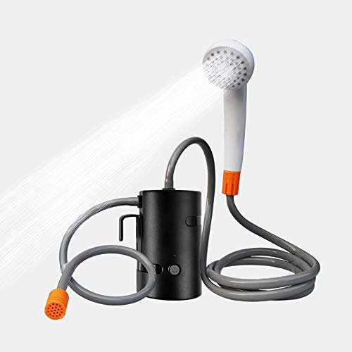 AZXJC Portable Outdoor Shower, Camp Shower with 3 LED Lights, 4400mAh Battery Powered Camping Shower Pump for Hiking/Outdoor, Travel, Beach, Pet, Flowering, Waterproof &USB Rechargeable 2 Flow Mode