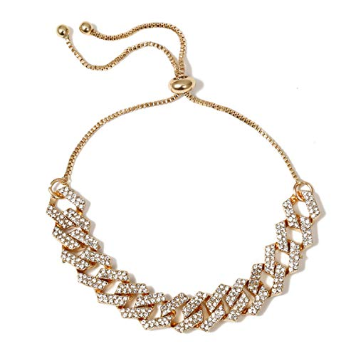 Fyong Simple All-Match Punk Micro-Inlaid Necklace Women's Personality Chain Full Diamond Hip-Hop Hipster Necklace (F)