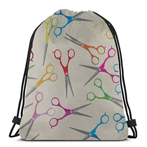 AEMAPE Life Art Creative Cute Tijeras Bolsa de Basura Mochila con cordón con Cuerdas Bolsa de Cuerda Mochila para Gimnasio Viajes al Aire Libre