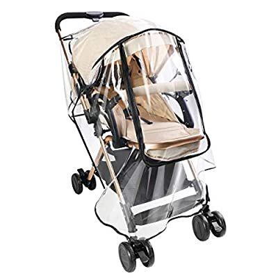 Zooawa Stroller Rain Cover, Universal Size Baby Travel Weather Shield Food Grade Material EVA Plastic Waterproof Windproof Dust Resistant Stroller Raincover for Jogger Stroller Buggy Pram - Clear