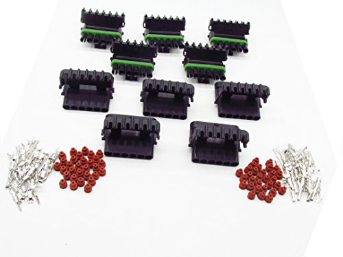 CNKF 10 Sets GM Haltech MAP type 6 pin way male Weatherpack waterproof auto Connector Icludes Terminals and Seals 12010975