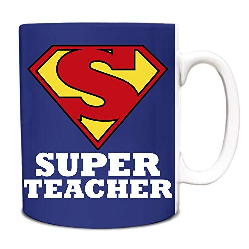Taza de té, de cerámica blanca, taza de café, azul real, superprofesor héroe, novedad de título de trabajo divertido, 325 ml