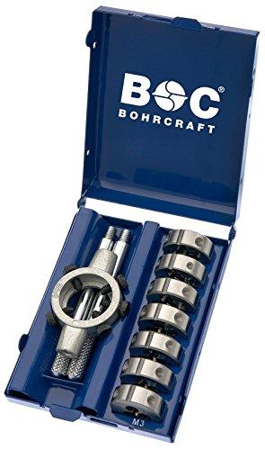 Bohrcraft Schneideisen HSS-G DIN 223 B mit Halter in Mini-Box, 8-teilig M 3 - M 12 und 25 x 9 / MSR 8, 1 Stück, 42001410007