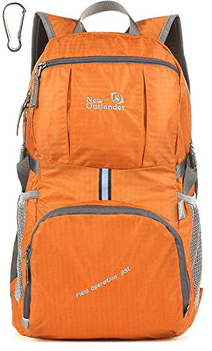 Outlander Packable Lightweight Travel Hiking Backpack Daypack (New Orange)