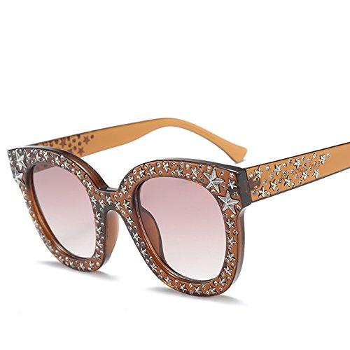 TYJYY Gafas de Sol Gafas De Sol De Diamantes De Imitación De Las Mujeres Diseñador De La Marca De Cristal Redondo Marcos De La Estrella Gafas De Sol De Lujo Gafas De Color Rosa Anteojos