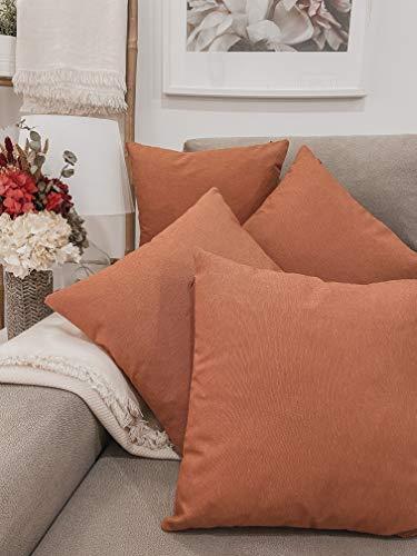 Pack 4 fundas de cojines para sofá EFECTO LINO suave, 16 COLORES fundas para almohada sin relleno, cojín decorativo grande para cama, salón. Almohadón elegante en varios tamaños.(Teja, 45x45cm)