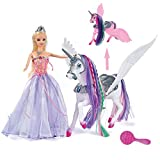 BETTINA Color Changing Unicorn & Princess Doll, Color Change on Whole Unicorn Under Sunshine, 12'' Doll and 11'' Unicorn with Removable Saddle&Wings