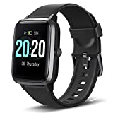 Lintelek Smart Watch, Full Touch Screen Smartwatch, 1.3 Inch Fitness Tracker with HR Monitor, Sleep Tracker, Stopwatch, IP68 Waterproof Fitness Watch Compatible with iOS, Android for Men, Women, Kids
