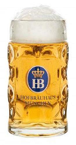 Hofbräuhaus Jarra de cerveza de cristal con logo original HB de Múnich,...