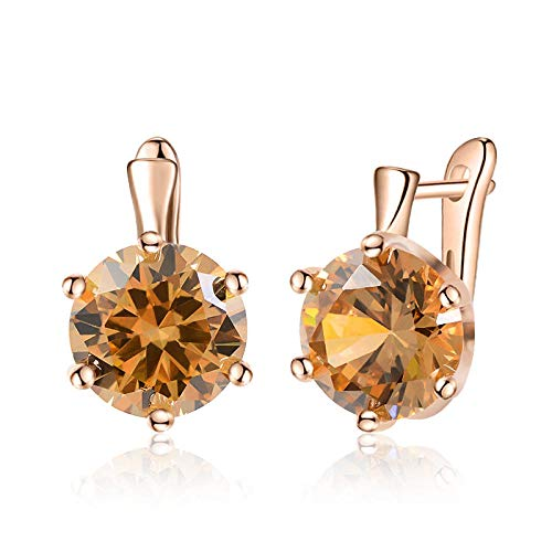 HoopsEarringsForWomen,Rose Gold Fashion Orange Round Zirconia Hoop Piercing Earrings Hypoallergenic Lightweight Hoop Ring Circle Jewelry Earrings For Women Girls Party Wedding Valentine'S Day