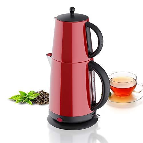 Edelstahl - Teekocher Wasserkocher - Rot - mit Teesieb Abschaltautomatik und Warmhaltefunktion - 2,7 Liter - 1850-2200W