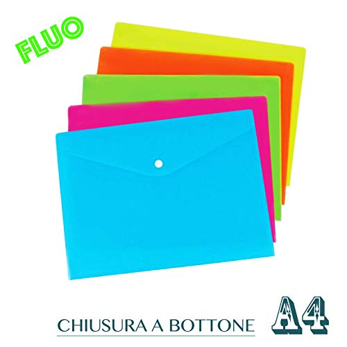 Buste con Bottone A4 Colori Fluo Assortiti Conf. 5 Pz.