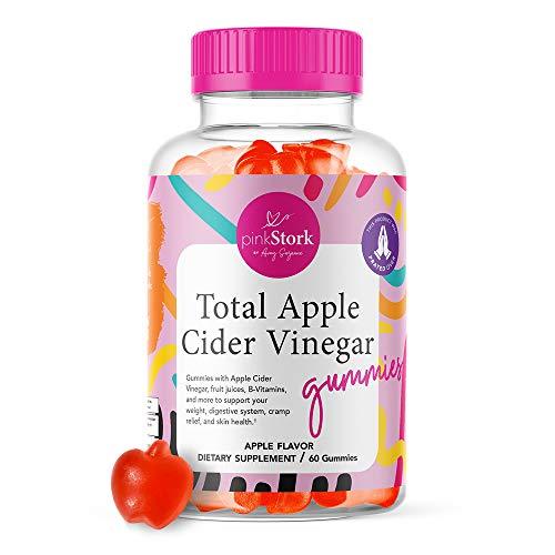Pink Stork Total Apple Cider Vinegar Gummies: Apple Flavored Apple Cider Vinegar Gummy Vitamins for Immunity, Detox, Weight Loss, Vitamin B6, Vitamin B12, 60 Apple Flavored Fruit Juice ACV Gummies