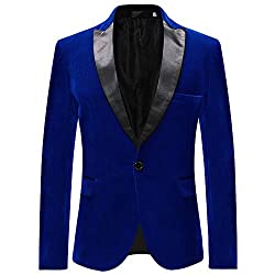 Men's Velvet Slim Fit Casual Blazer Business Jacket One Button Suits Coat Mens Single Breasted Jacket Slim Fit Casual Suits Blazer 65% Cotton, 35% Viscose. Comfortable, Breathable, Softer, Smoother, and Easier to wash Slim fit,notch lapel, 2 front fl...