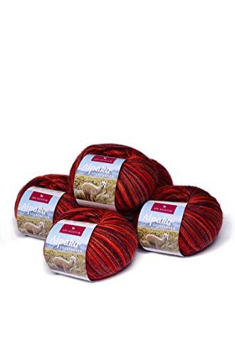 APU KUNTUR Alpaka Socken-Wolle | Strick-H�kel-Garn weich, warm und kratzfrei | 5er Vorteilspack | 200m, Nadel 2,5 | wundersch�ne Farben zum angenehmen Stricken und h�keln | Kupfer-orange