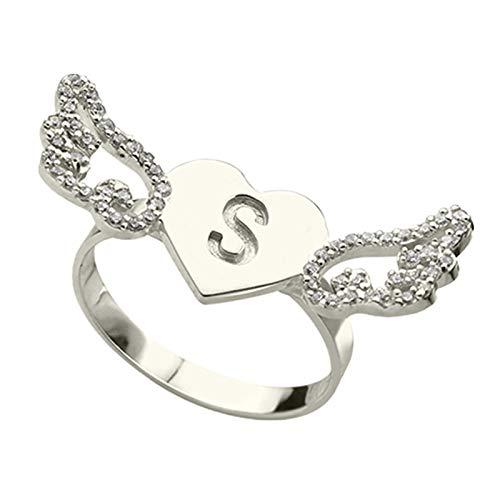 Anillo de letra personalizado Anillo de plata esterlina 925 Anillo en forma de corazón Anillo de ángel Regalo para mujer(Plata 18.5)